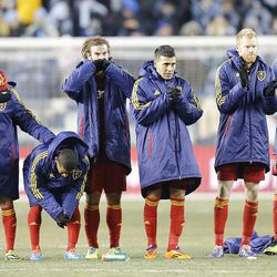 Real players watch during the shootout as Real Salt Lake and Sporting KC play Saturday, Dec. 7, 2013 in MLS Cup action. Sporting KC won in a shootout.