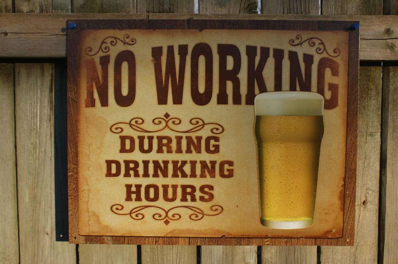 *THINK DRINKING WAS BAD* MADE IN USA METAL SIGN MAN CAVE BAR ROOM HAPPY HOUR