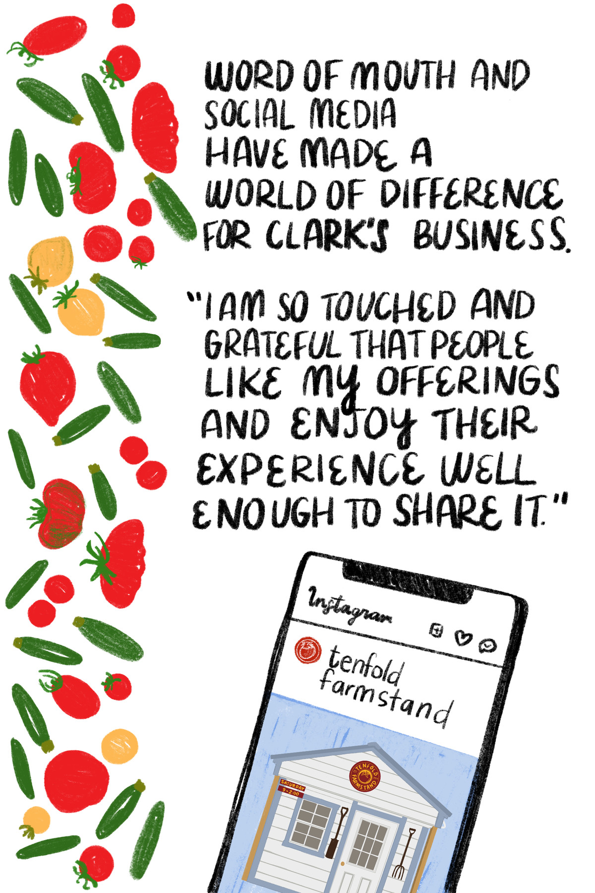 """""""Word of mouth and social media have made a world of difference for Clark's business. """"I am so touched and grateful that people like my offerings and enjoy their experience well enough to share it."""" [Next to the quote are illustrated tomatoes and zucchini; below it is an illustration of a smart phone displaying Tenfold Farmstand's Instagram page.]"""
