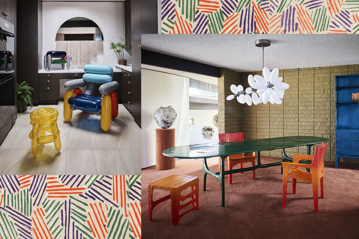 A collage of a blown-glass chair and stool and dining room featuring hand-formed orange dining chairs and green table with a bubble class chandelier.