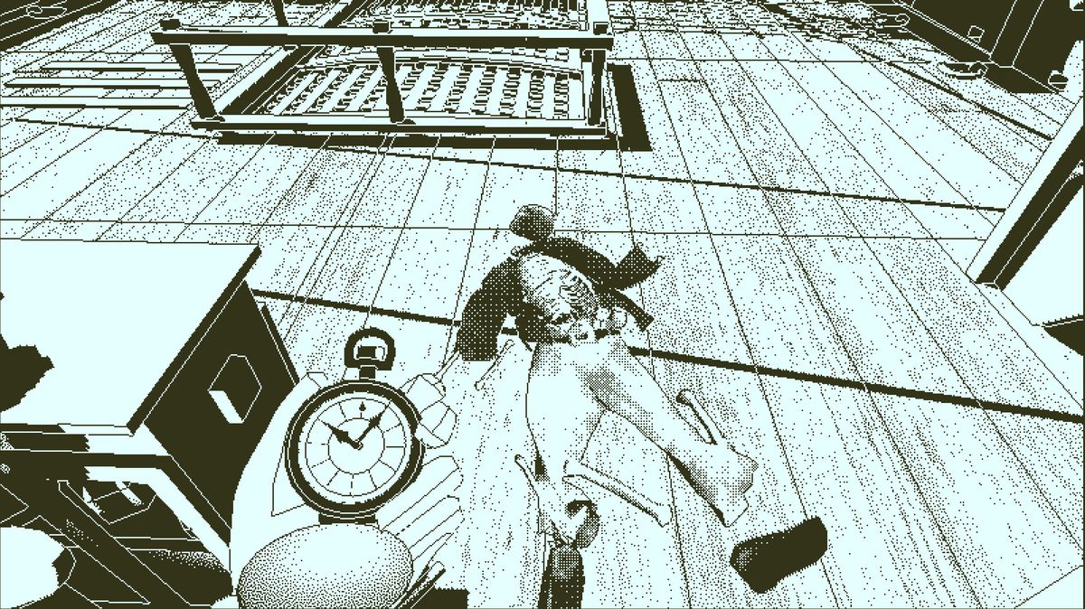 Return of the Obra Dinn - looking at a corpse on the deck