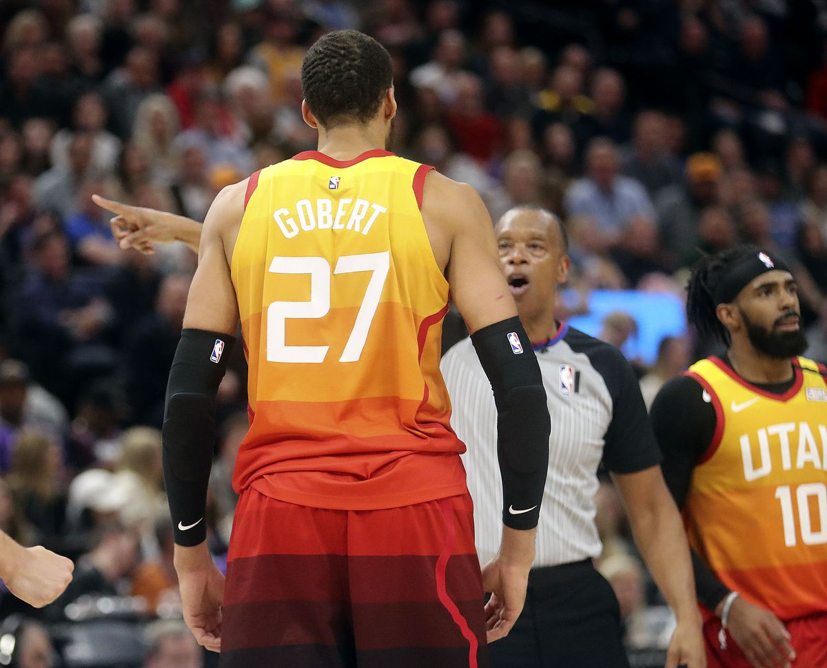 Utah Jazz center Rudy Gobert (27) gets ejected from an NBA game against the Toronto Raptors at Vivint Arena in Salt Lake City on Monday, March 9, 2020. The Jazz lost 92-101.
