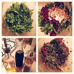 At the end of a long day, it would be so easy to plop on the couch and order take out. Instead, I took 30 minutes and whipped this up. Rinse some arugula and put two to three beets in a pot of boiling water on the stove. While the beets are boiling drizzl