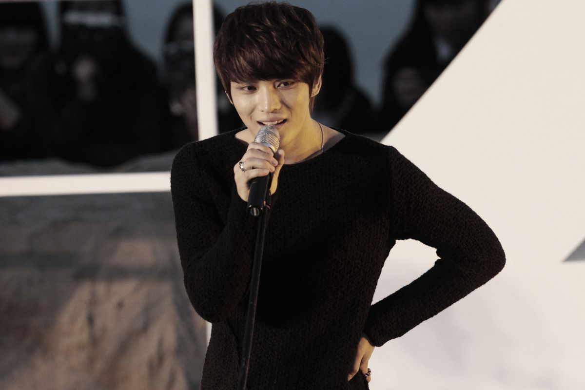 """South Korean singer and actor Kim Jaejoong sings a song at the Open Talks to promote his move """"Code Name: Jackal"""" during the Busan International Film Festival in Busan, South Korea, Friday, Oct. 5, 2012. (AP Photo/Ahn Young-joon)"""