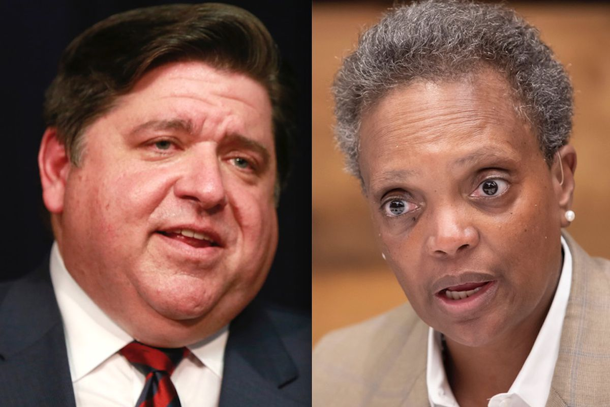 Illinois Gov. J.B. Pritzker and Chicago Mayor Lori Lightfoot