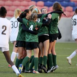 Rowland Hall celebrates winning the 2A girls soccer championship game against Real Salt Lake Academy at Rio Tinto Stadium in Sandy on Monday, Oct. 26, 2020. Rowland Hall won 3-2.