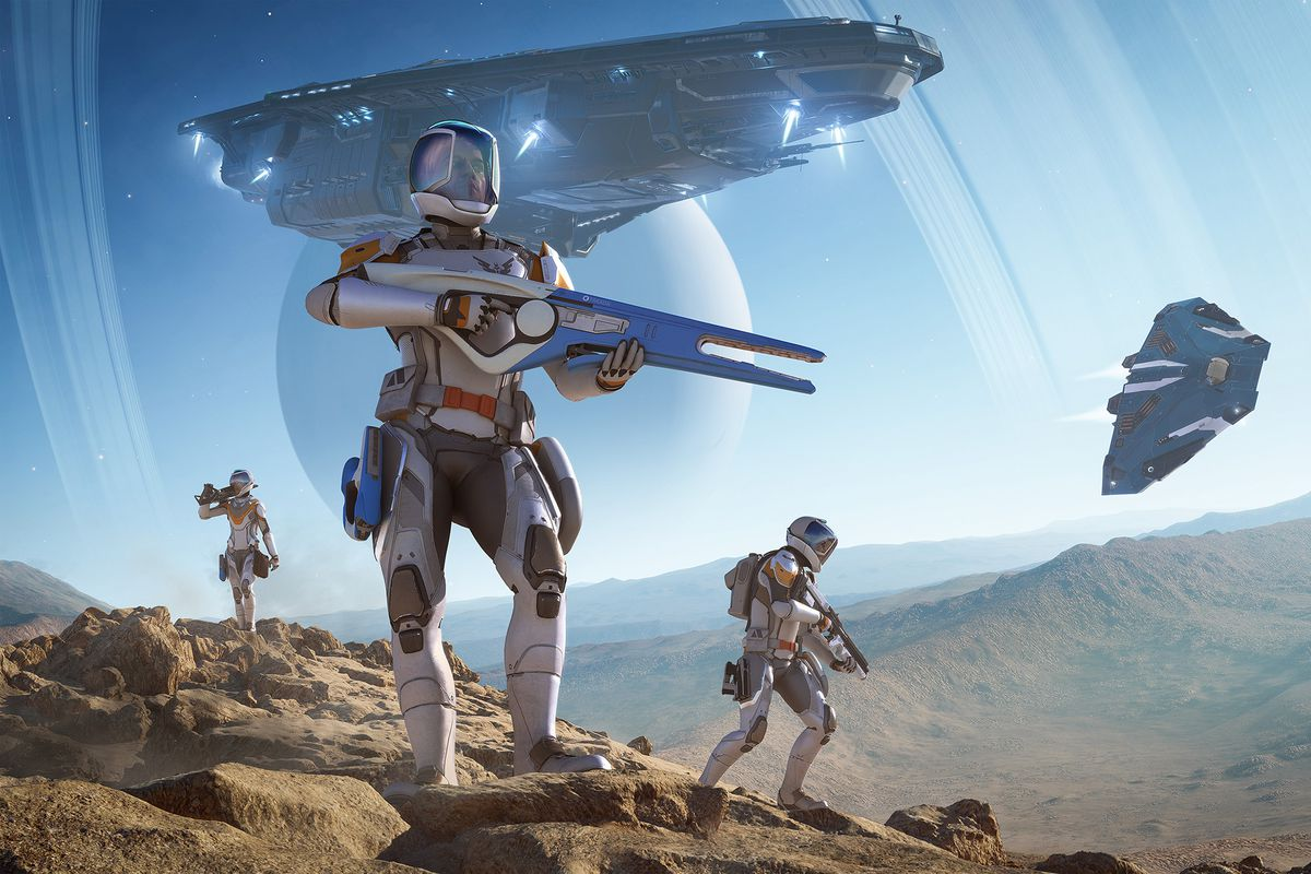 Players deploy on the surface of a planet, weapons at the ready, in Elite Dangerous: Odyssey