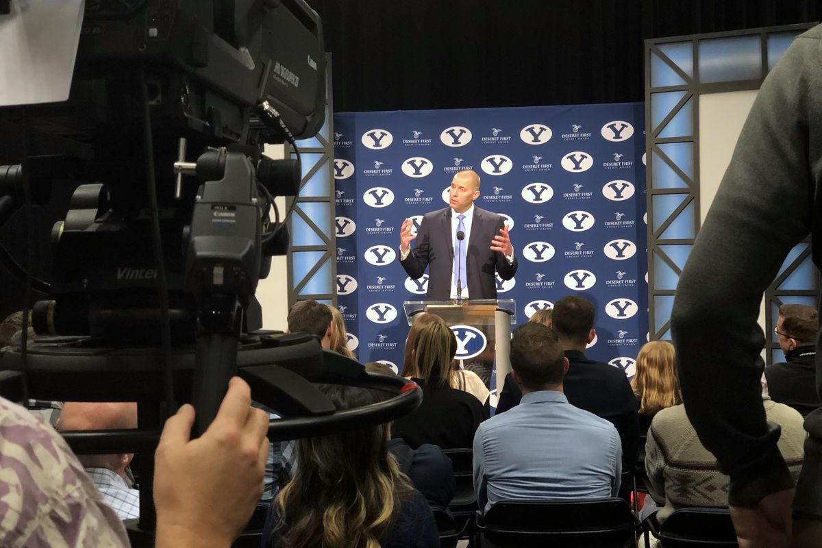 Mark Pope speaks as he is introduced as BYU's new basketball coach during a press conference in Provo on Wednesday, April 10, 2019.