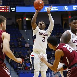 The Lafayette Leopards take on the UConn Huskies in a men's college basketball game at XL Center in Hartford, CT on December 5, 2018