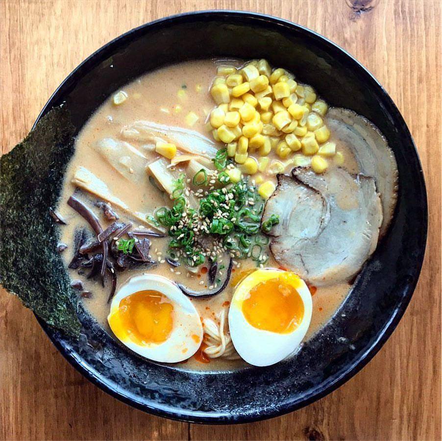 A bowl of tonkotsu ramen.