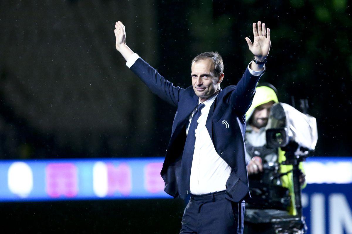 Massimiliano Allegri, head coach of Juventus FC, celebrate...