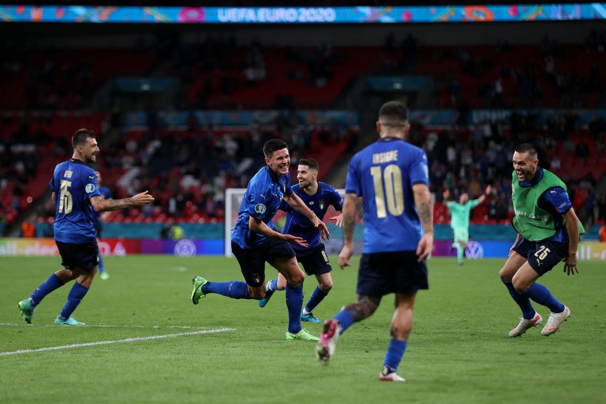 Matteo Pessina of Italy celebrates after scoring their side's second goal during the UEFA Euro 2020 Championship Round of 16 match between Italy and Austria at Wembley Stadium at Wembley Stadium on June 26, 2021 in London, England.