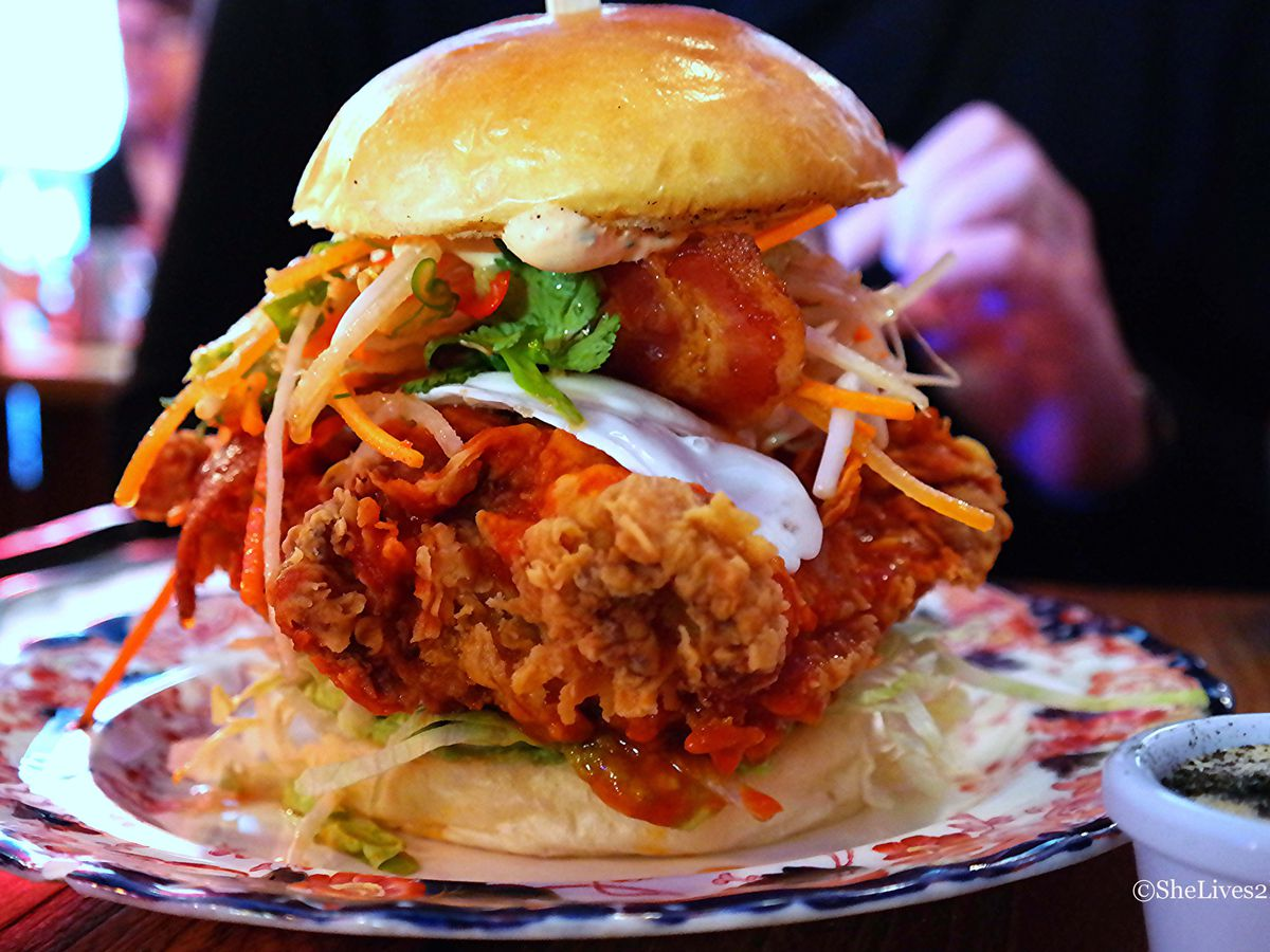 Fried chicken burger at Chick 'n' Sours restaurant in Dalston, London
