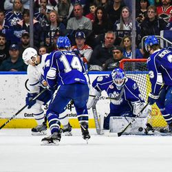 Syracuse Crunch goalie Connor Ingram (39) makes a save against the Toronto Marlies in American Hockey League (AHL) Calder Cup Playoff action at the War Memorial Arena in Syracuse, New York on Sunday, May 6, 2018. Toronto won 7-1.