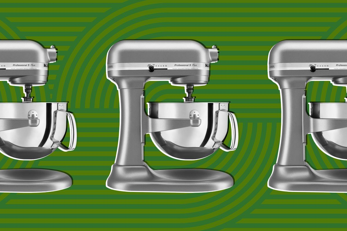 Motif of gray kitchen mixer against green background.