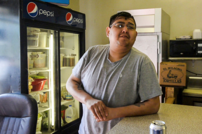 """Eric Trujillo, a Hopkins Park restaurant owner: """"No, there's no local police. I haven't seen any. I've seen the sheriff's department come through. That's it.""""  Tyler LaRiviere / Sun-Times"""