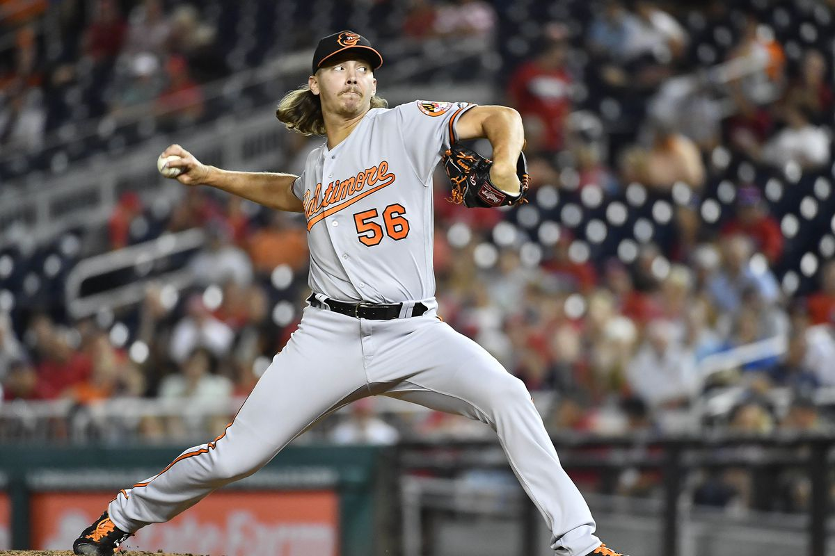 Baltimore Orioles relief pitcher Hunter Harvey throws to the Washington Nationals during the eighth inning at Nationals Park.
