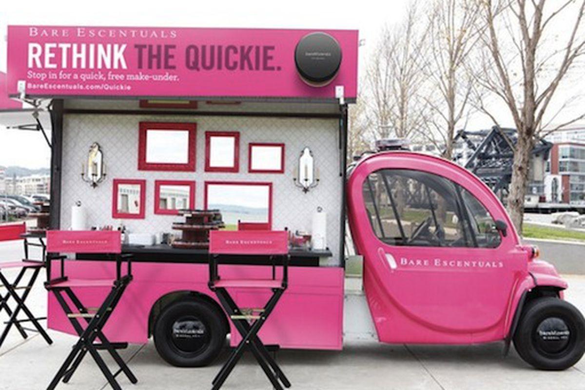 "Of course it's pink. Of course. Image via <a href=""http://www.wwd.com/wwd-publications/wwd/2010-06-18?id=3126082&amp;date=today&amp;module=tn/today#/article/beauty-industry-news/bare-escentuals-vans-cross-us-3126102"">WWD</a>."