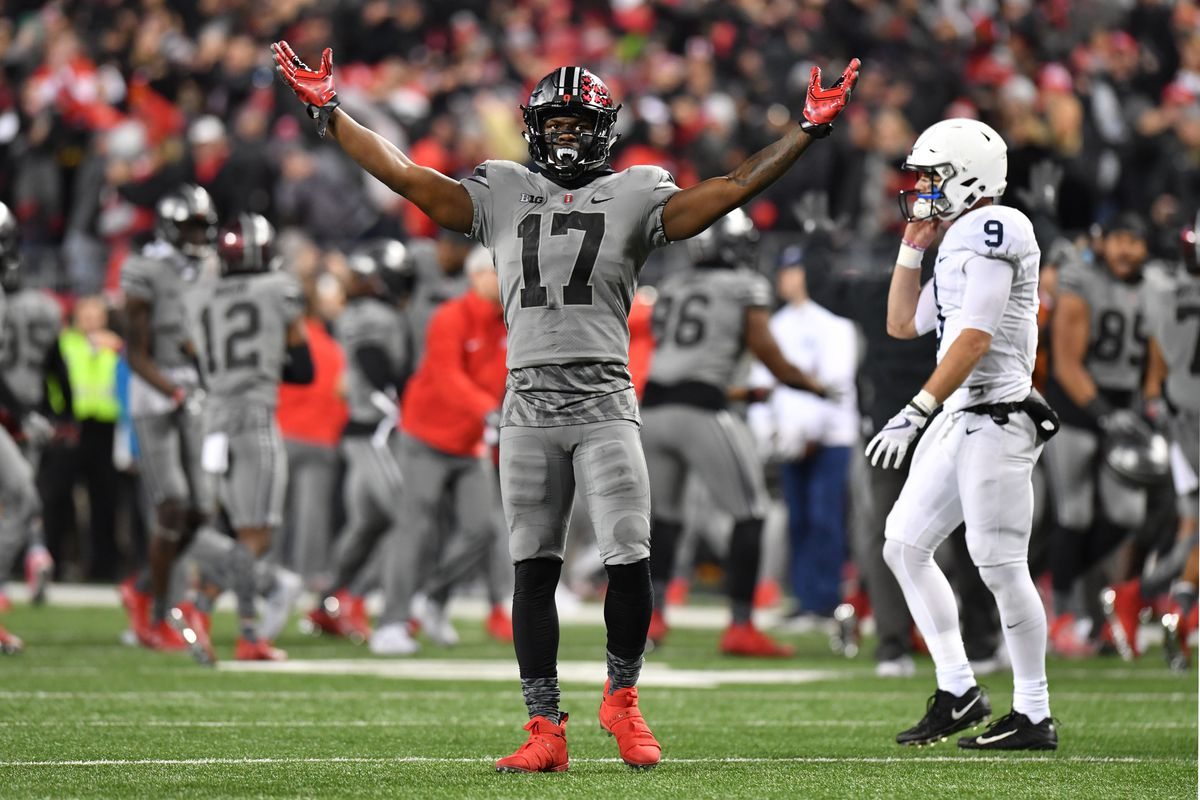COLUMBUS, OH:  Ohio State Buckeyes linebacker Jerome Baker (17) celebrates a turnover-on-downs after stopping Penn State Nittany Lions quarterback Trace McSorley (9) during a game at Ohio Stadium.