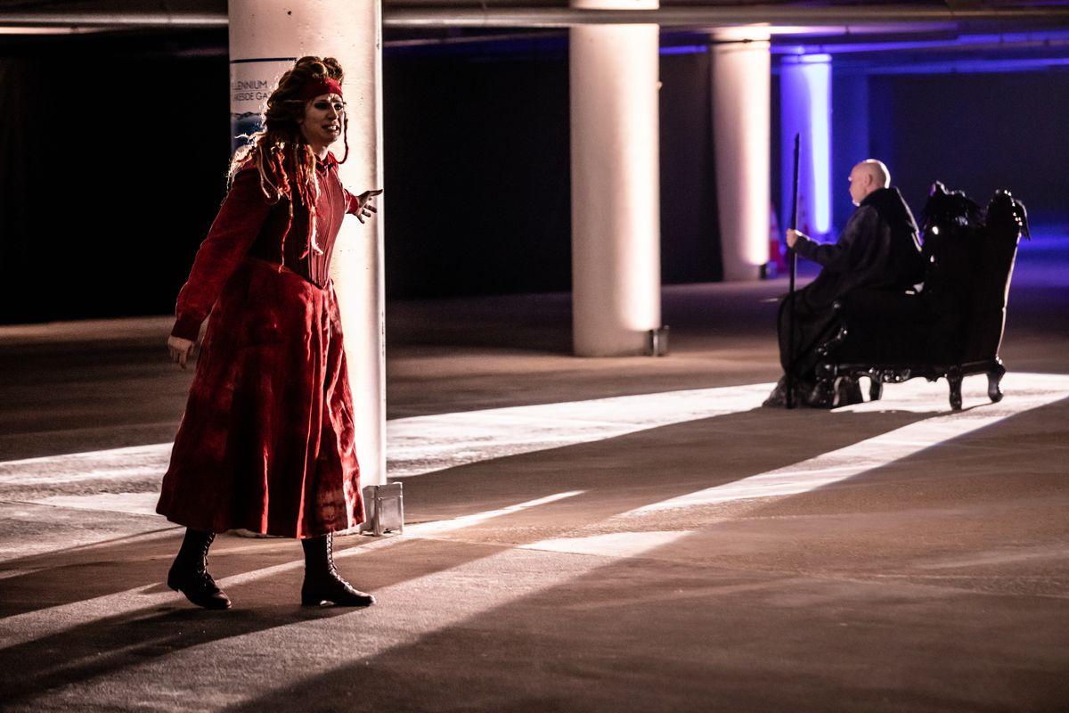 "Mezzo-soprano Catherine Martin (left) stars as Waltraute, daughter of the great god, Wotan, in ""Twilight: Gods."""