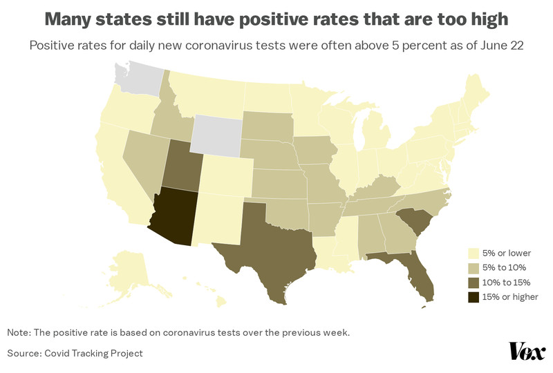A map of positive rates for coronavirus testing, by state.