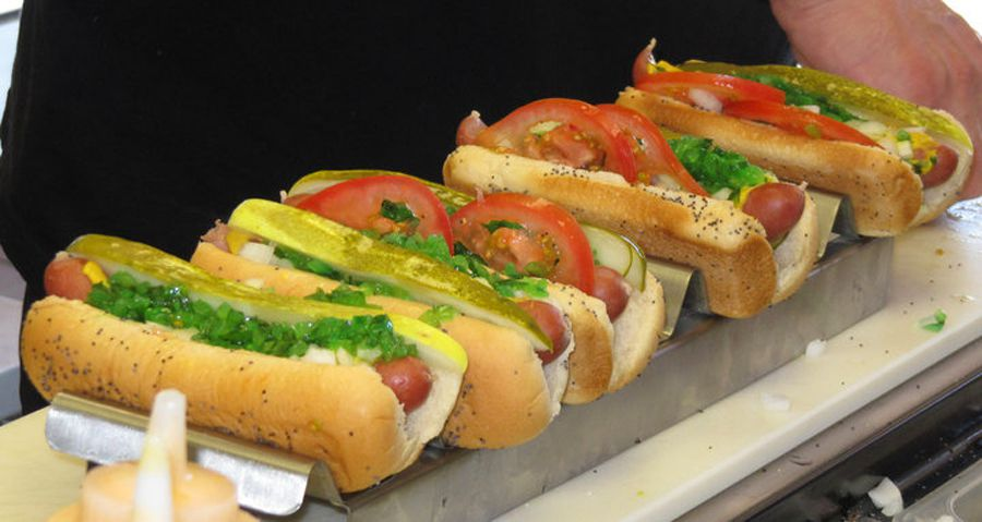 """Classic Chicago dogs, """"dragged through the garden,"""" available at Windy City Beefs-N-Dogs."""