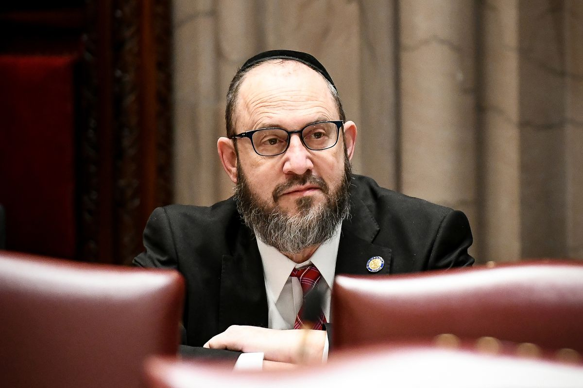 Brooklyn State Sen. Simcha Felder attends a meeting in Albany, March 20, 2019.