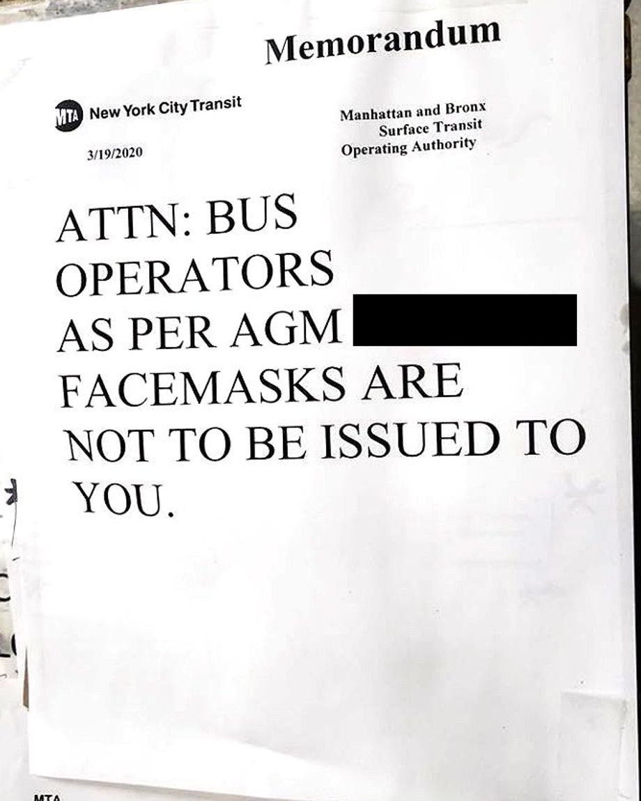 A MTA memorandum posted in a Brooklyn bus depot states drivers are not getting masks in response to the coronavirus.