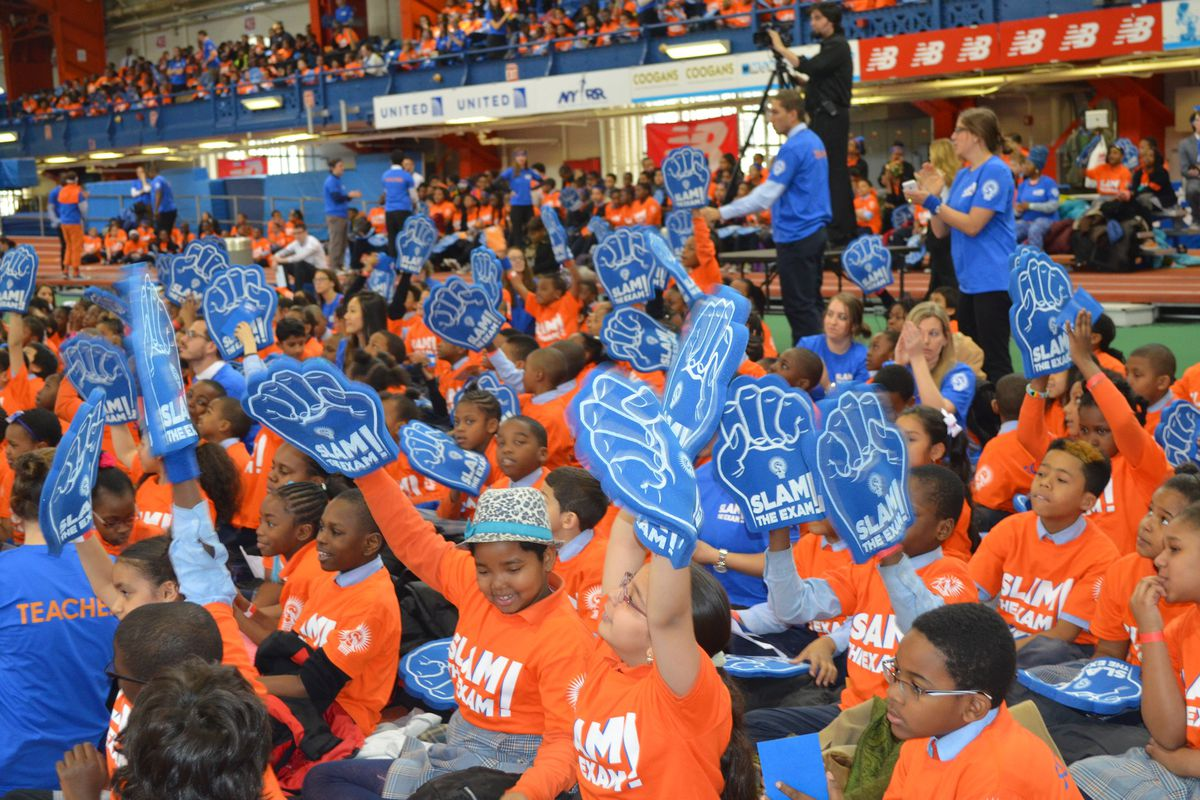 "A ""Slam the Exam"" rally for Success Academy students"