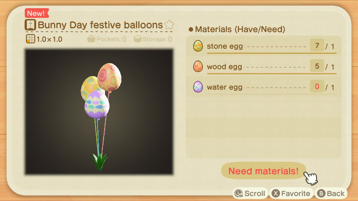 A crafting screen in Animal Crossing showing how to make Bunny Day Festive Balloons