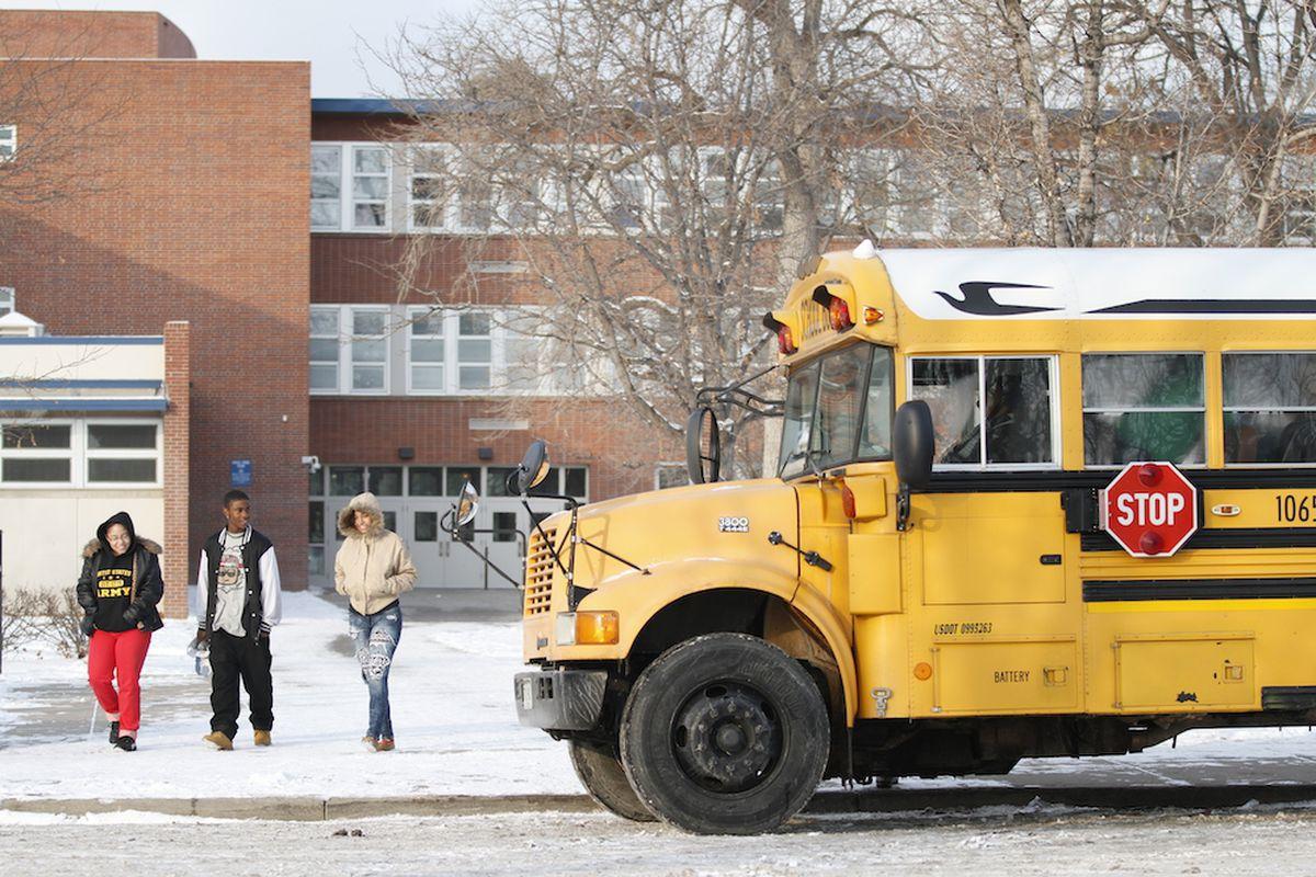 A school bus outside Denver's Manual High School.