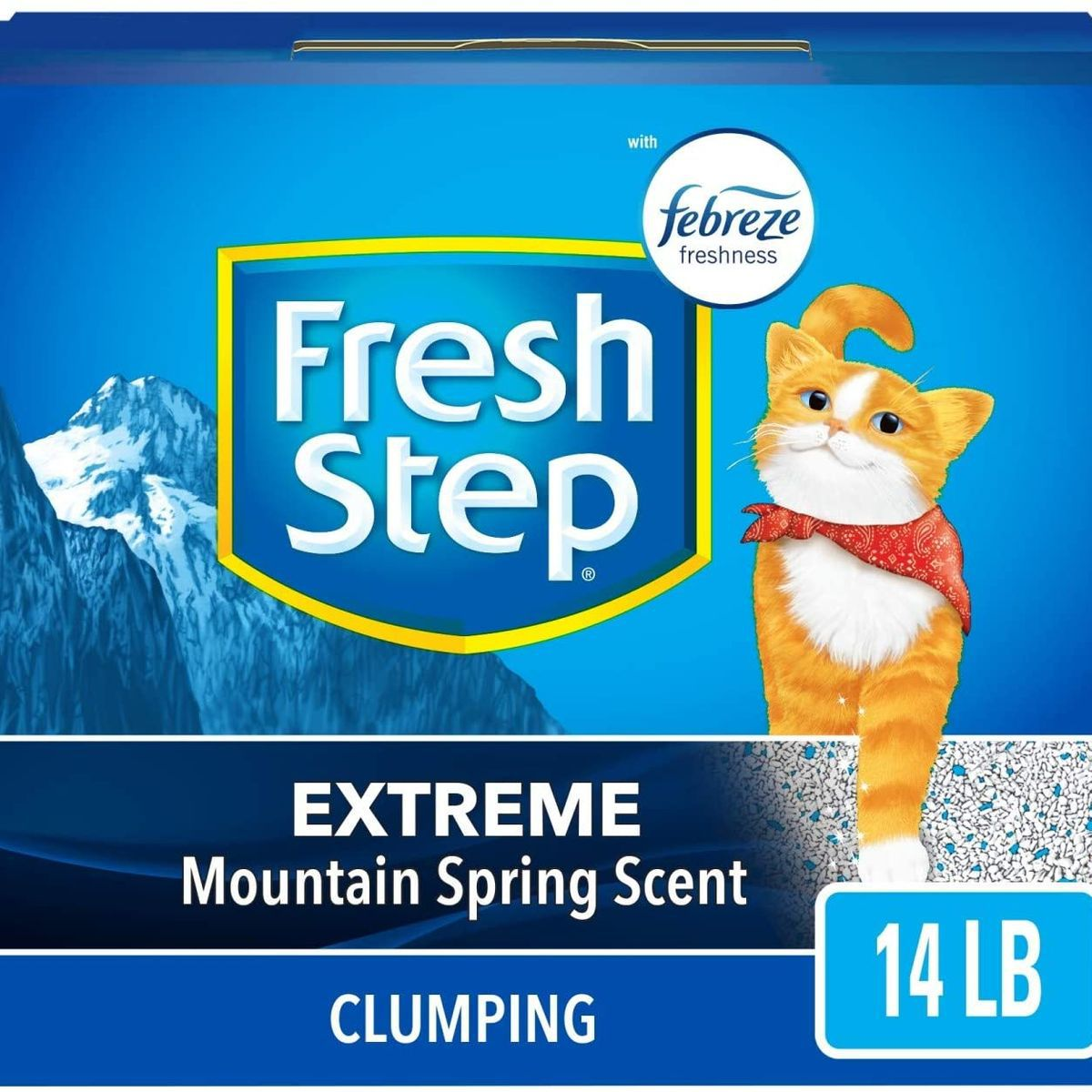 Blue square box with a cat on the packaging.