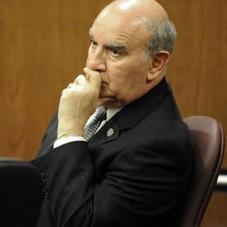 University of Colorado Chancellor Phil DiStefano listens to the words of Denver-based attorney Robert Corry while he examines a witness during the hearing for the 4/20 closure of the Norlin Quad on the University of Colorado campus at the Boulder County Justice Center on Thursday, April 19, 2012, in Boulder, Colo. A judge says the University of Colorado-Boulder can close its grounds to unauthorized visitors Friday, as administrators try to stifle an unsanctioned annual campus celebration of marijuana.