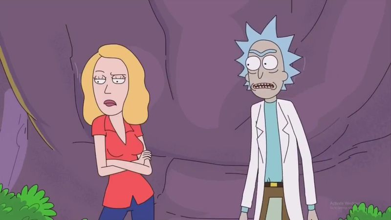 Beth and Rick in Rick and Morty season 3 episode 9.