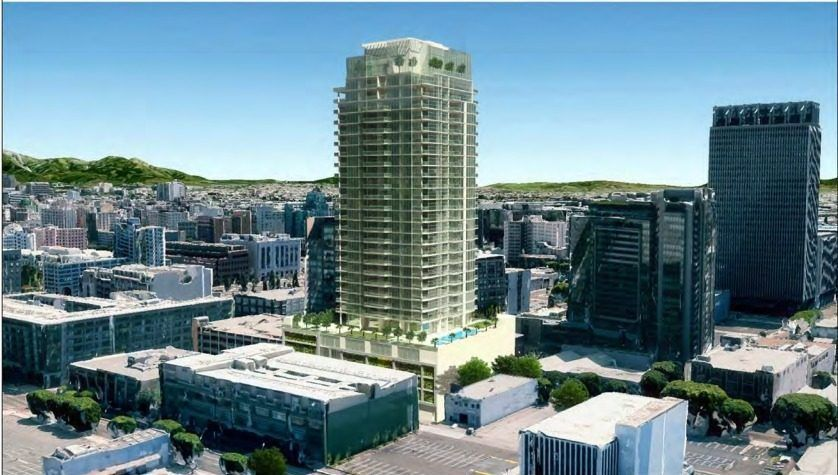 Rendering of glassy high-rise