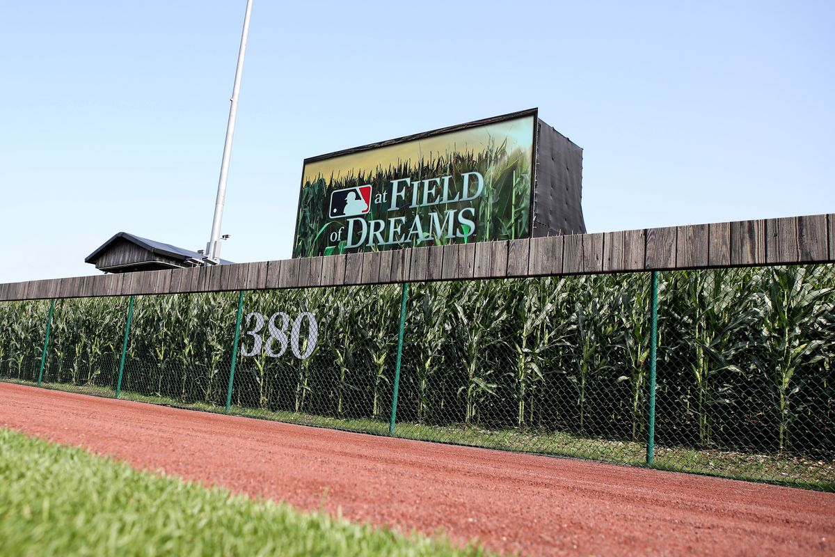 Fans will be able to watch this giant display in left field just beyond the corn during the game between the Chicago White Sox and the New York Yankees at the Field of Dreams.