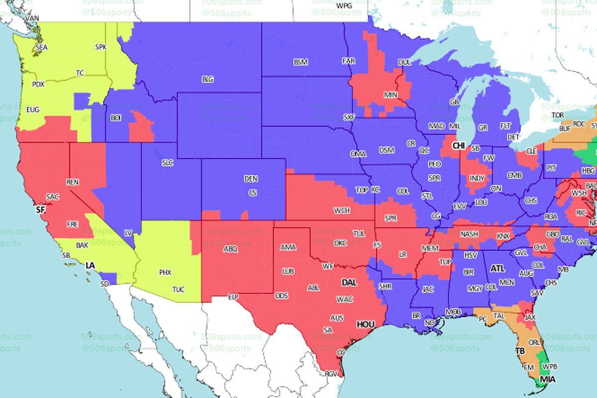 ErsCowboys TV Schedule Broadcast Maps In The US International - Dallas on us map