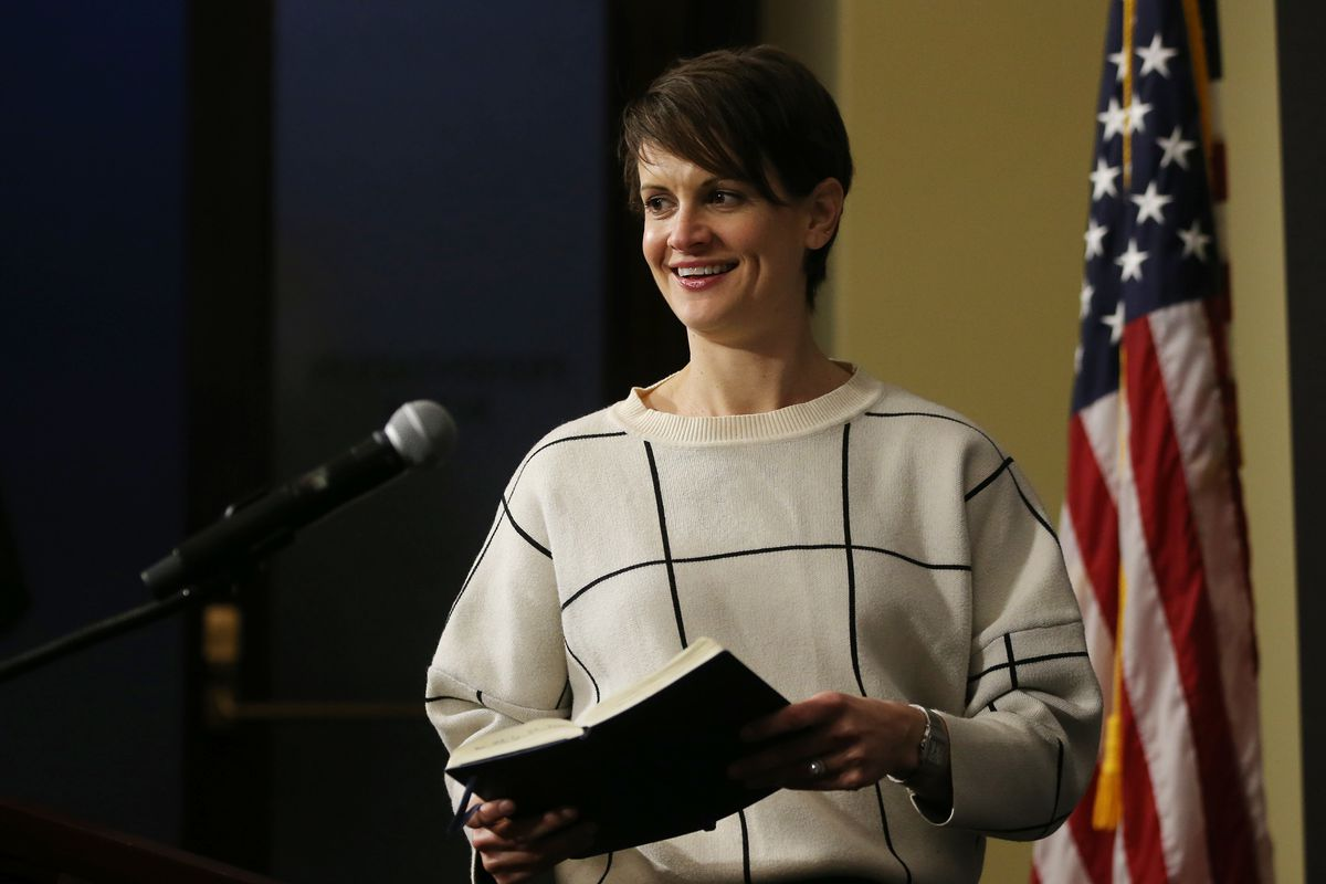 State epidemiologist Dr. Angela Dunn steps to the podium during the daily COVID-19 briefing at the Capitol in Salt Lake City on Monday, April 13, 2020.