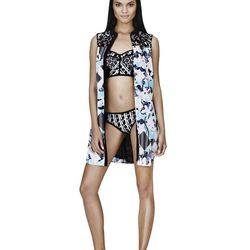 Shirt Dress in Light Blue Floral/Check Print, $34.99; Bikini Top in Black/White Print, $22.99; Bikini Bottom in Black/White Print, $16.99; Slip-On Shoe in Black/White Print, $29.99
