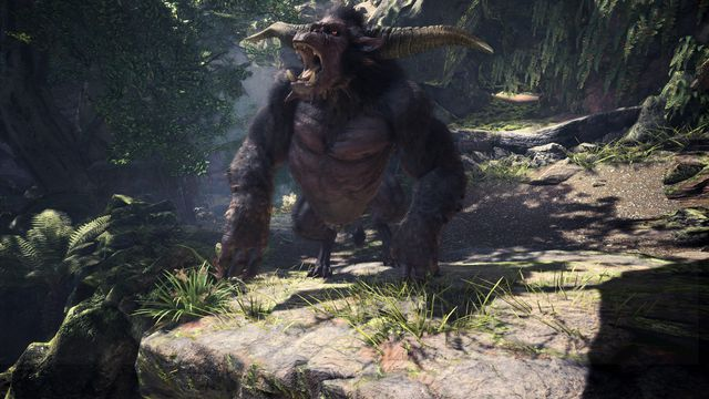Monster Hunter: World - a Rajang on a rocky cliff edge at the end of a forest