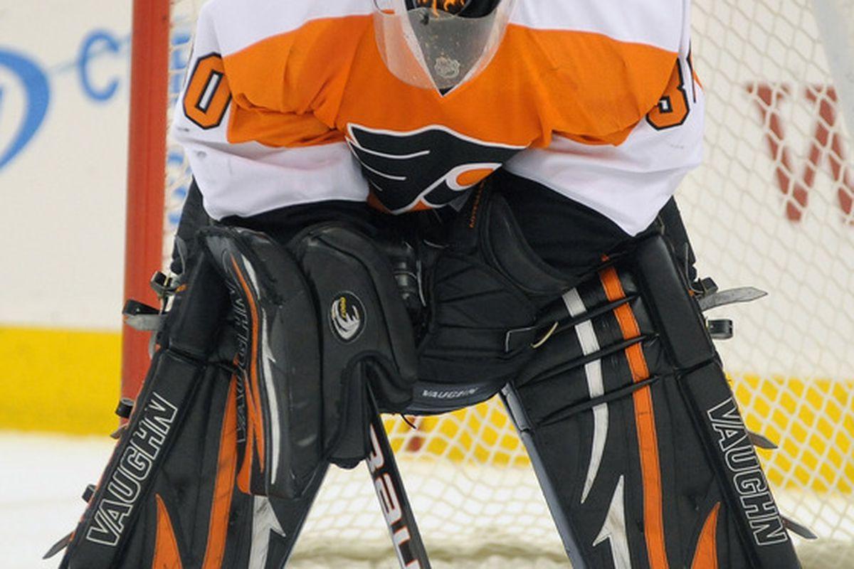 March 22, 2012; Philadelphia, PA USA; Philadelphia Flyers goalie Ilya Bryzgalov (30) during the first period of game against the Washington Capitals at the Wells Fargo Center in Philadelphia. Mandatory Credit: Eric Hartline-US PRESSWIRE
