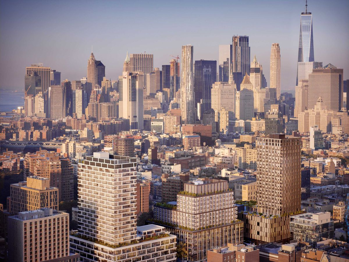 An aerial view of many tall city buildings in New York City.