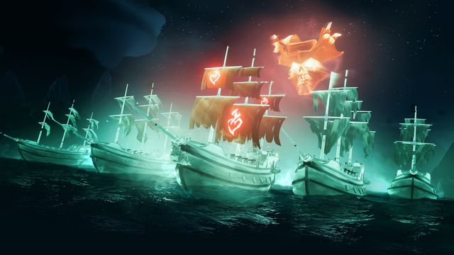 Sea of Thieves - a fleet of ghost ships sail forward, protecting the Burning Blade flagship