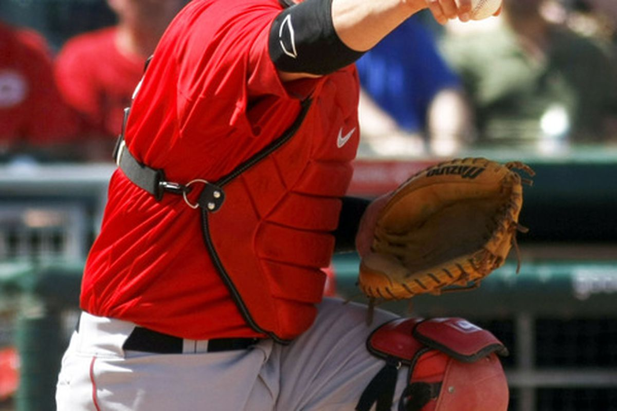 March 28, 2012; Goodyear, AZ, USA; Los Angeles Angels catcher Chris Iannetta (17) appeals to first base in the fourth inning against the Cincinnati Reds at Goodyear Ballpark.  Mandatory Credit: Rick Scuteri-US PRESSWIRE