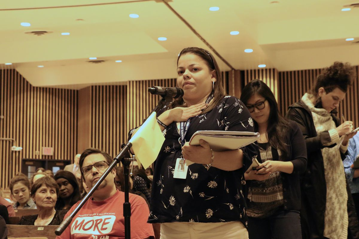 Teacher Aixa Rodriguez speaks at a Panel for Educational Policy meeting in 2016.