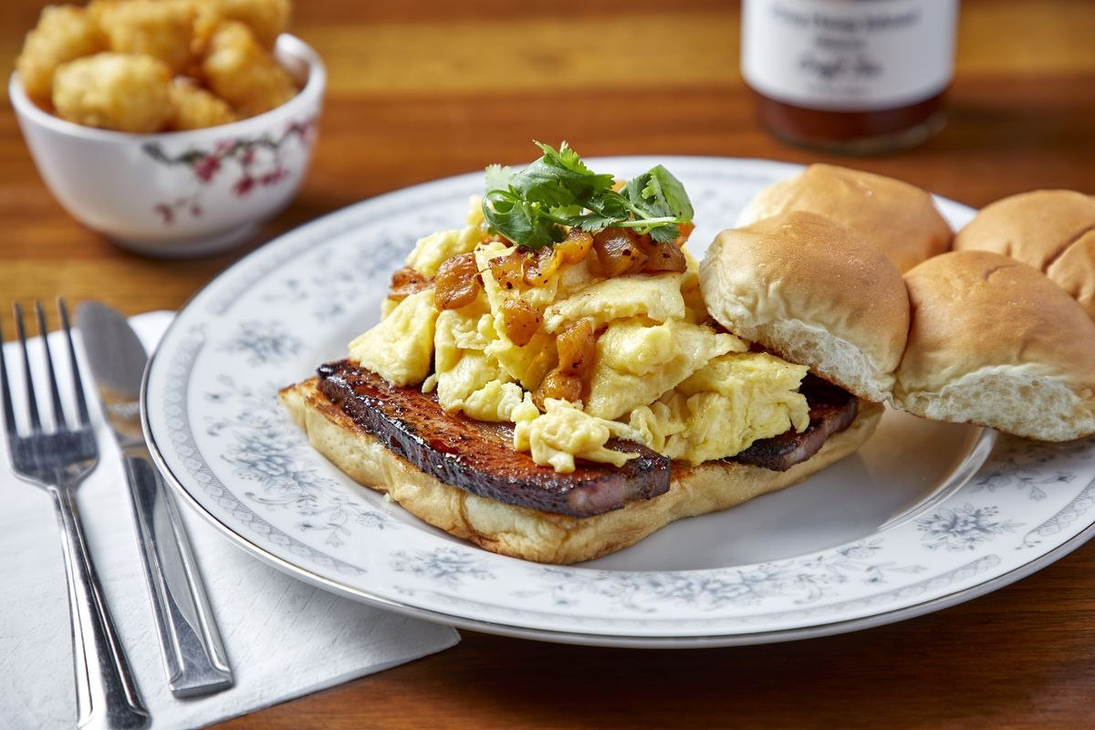 A Spam and egg sandwich on Hawaiian bread