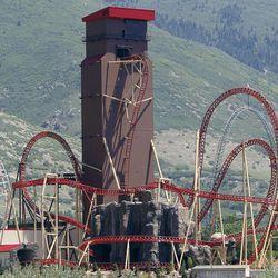 The new Cannibal roller coaster runs at Lagoon in Farmington, Thursday, June 18, 2015.