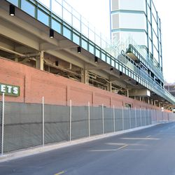 11:02 a.m. Chain link fence up, along the Waveland Avenue curb -