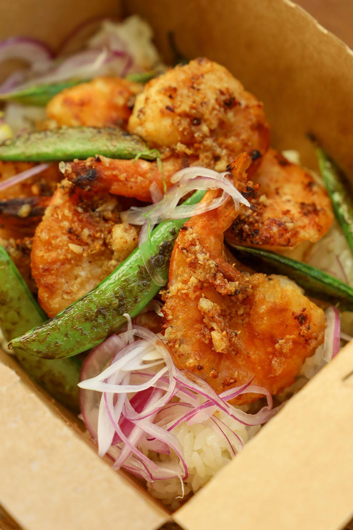 The garlic butter firecracker shrimp from Salty Cargo