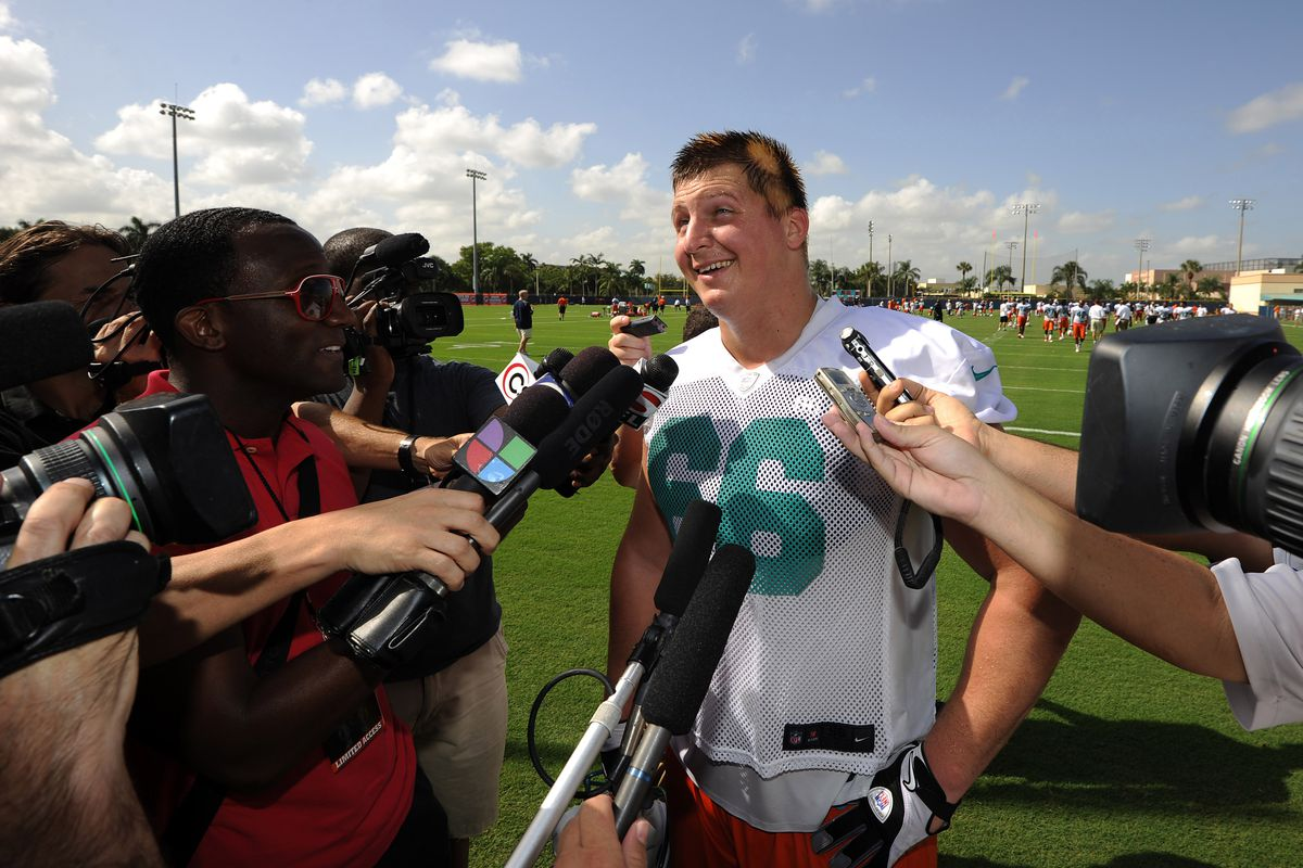 July 27 2012; Davie, FL, USA; Miami Dolphins defensive tackle Chas Alecxih (66) answers questions from reporters after a teams practice at the Dolphins training facility. Mandatory Credit: Steve Mitchell-US PRESSWIRE